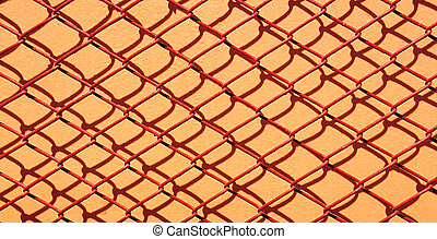 Red net metal steel on orange wall