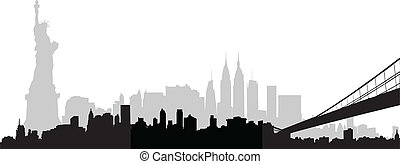City skyline New York vector - Vector part of the New York...
