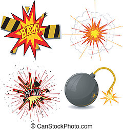 Vector illustration of a set of explosions