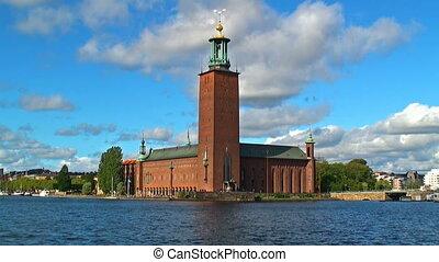 ciudad, vestíbulo, castillo, Estocolmo
