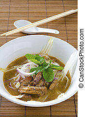 malaysian famous food asam laksa