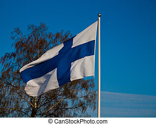 finnish flag - Finnish national flag outside