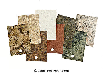 Countertop samples on white