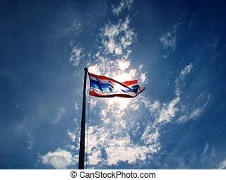 thailand flag and blue sky