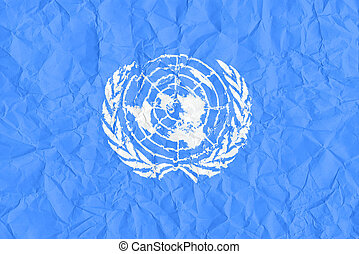 United Nations grunge flag on wrinkled paper background