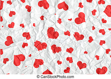 White crumpled paper with red heart in valentine's day