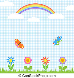 Flowers,butterflies and rainbow - Background with...