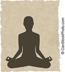 abstract meditating people background - vector illustration