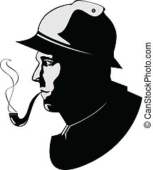 vector silhouette pipe smoker - the vector silhouette pipe...