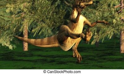 dinosaur in forest