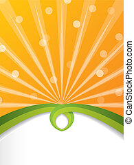 Bursting orange brochure with green ribbon and shadow