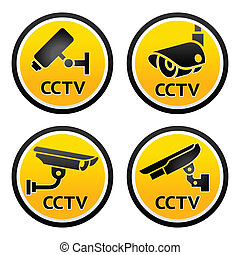Security camera pictogram, set CCTV signs - Set Warning...
