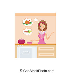 Beautiful lady cooking lunch