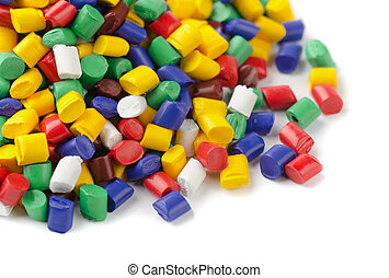 Polymer granules - olourful plastic polymer granules on...