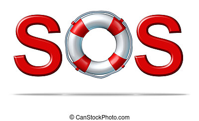 SOS Help - Help SOS symbol with a life preserver as the...
