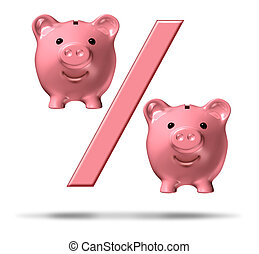 Percentage Piggy Bank - Percentage piggy bank symbol with a...