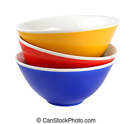 Pile of bowls isolated on white background