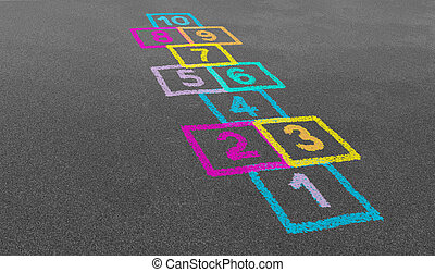 Hopscotch In A School - Hopscotch game in perspective in a...