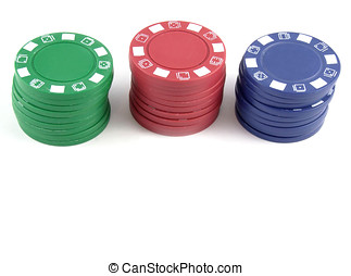Poker Chips - Pile of poker chips with copy space