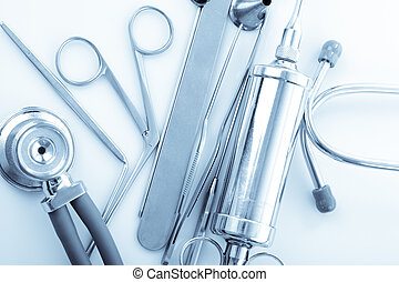 ENT tools - Medical instruments for ENT doctor on white