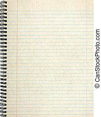 viejo, cuaderno, página, rayado, papel