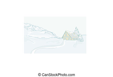 Christmas card with winter house