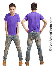 Front and back of asian young man standing isolated on white