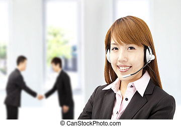 businesswoman  customer service on the phone