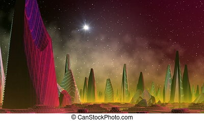 Fantastic (alien) city and star fla - The fantastic (alien)...