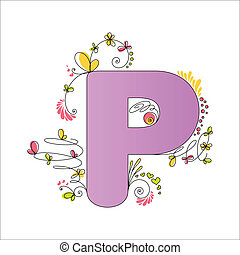 Colorful floral alphabet. Letter P - Illustration of...