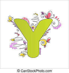 Colorful floral alphabet Letter Y - Illustration of colorful...