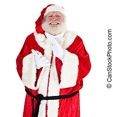 Santa Claus in authentic look clapping hands. All on white...