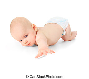 Toddler - Crawling caucasian baby. All on white background.