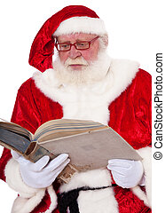 Santa Claus in authentic look storytelling. All on white...