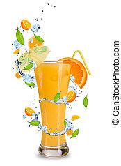 Summer drink - Fresh orange cocktail with splash around,...