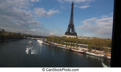 Eiffel Tower from Metro train - View of the Eiffel Tower and...