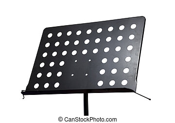 Empty metal music stand isolated on a white background -...