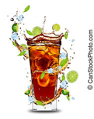 Cola drink - Fresh cola drink with limes Isolated on white...