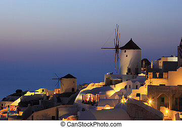 Overview on Oia on the island of Santorini in Greece at...