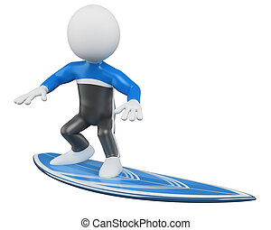 3D Surfer - Surfing. Rendered at high resolution on a white...
