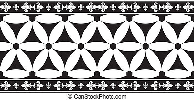 Seamless black-and-white gothic geometrical floral vector border with fleur-de-lis