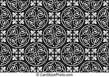 Black-and-white seamless gothic floral vector pattern with fleur-de-lis