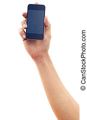 isolated hand holding smartphone or phone, with clipping...