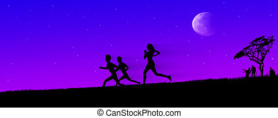 Zombie chase on horrific night - Zombie chase on horrific...