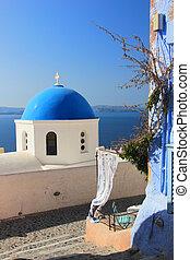 Greek orthodox church - Traditional Greek white church arch...