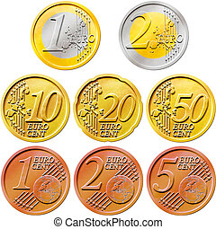 Euro Coins Pack - Illustration of a pack of all the existent...