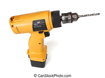 Cordless drill machine, with clipping path