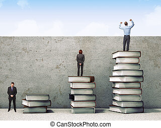 power of degree - business people on books pile 3d