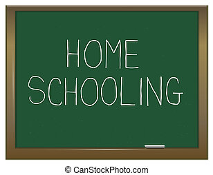 Homeschooling concept. - Illustration depicting a green...