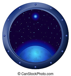 Window with blue planet - Space ship window porthole with...